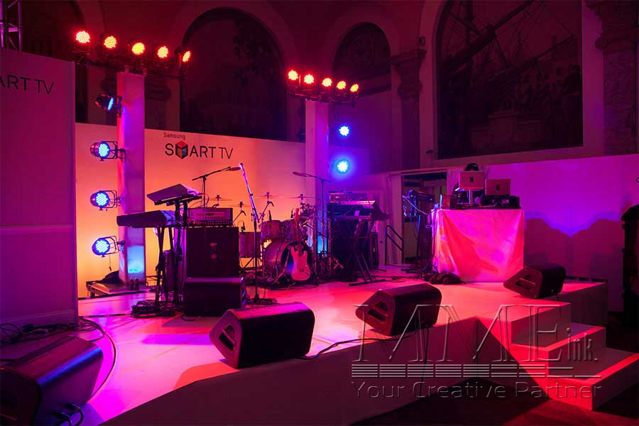 ... Staging featuring lighting musical equipment and DJ for Samsung Smart TV NYC event ... & Miami Florida Audio Visual u0026 Staging | MMEink South
