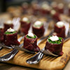 Appetizers arranged with elegance by catering experts at Miami events
