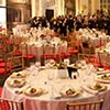 Elegant upscale event design featuring professional catering and table setting at NYC event