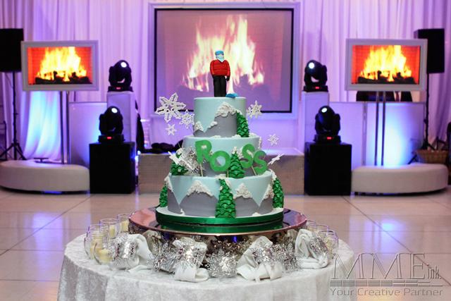 Bat Mitzvah winter wonderland custom cake design
