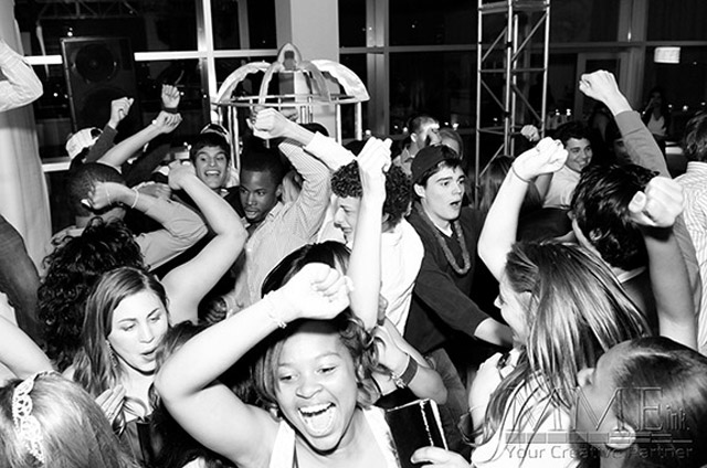 Kids on the dance floor at sweet 16 party