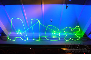 Custom name in lights lighting Gobo at Sweet 16 party