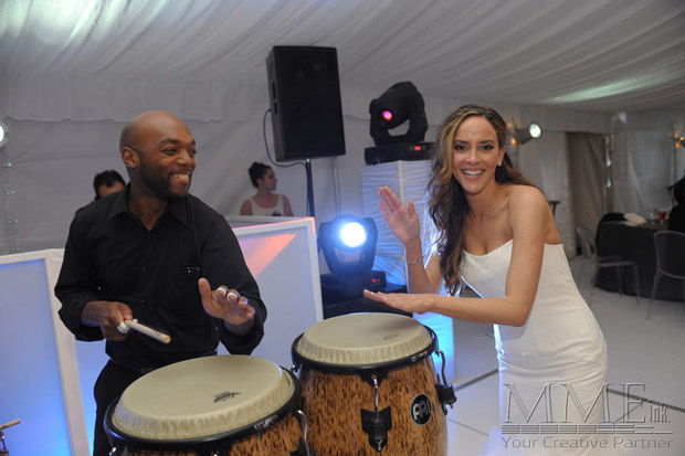 Bride at Wedding having fun with Musical Entertainer