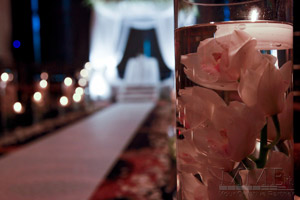 Close up of Flowers in water at NYC Wedding