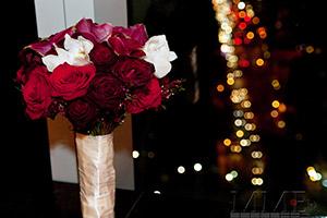 Wedding Bouquet in front of mirror overlooking NYC