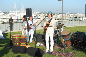 Musicians performing at outdoor waterfront wedding in New York