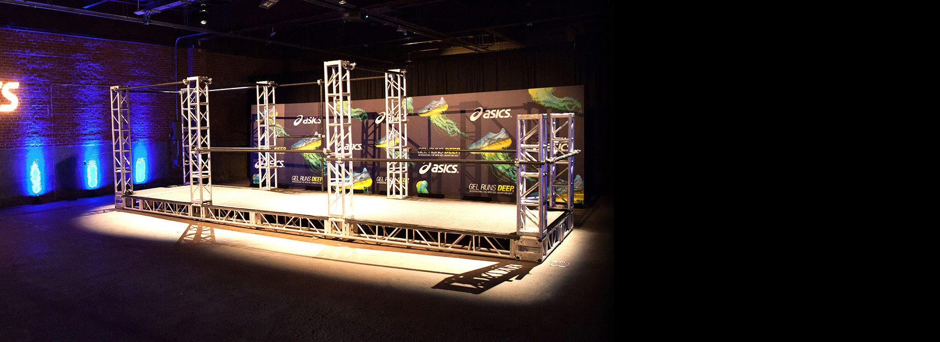asics parkour demo sneakers displays engagement custom fabricated dinner event design