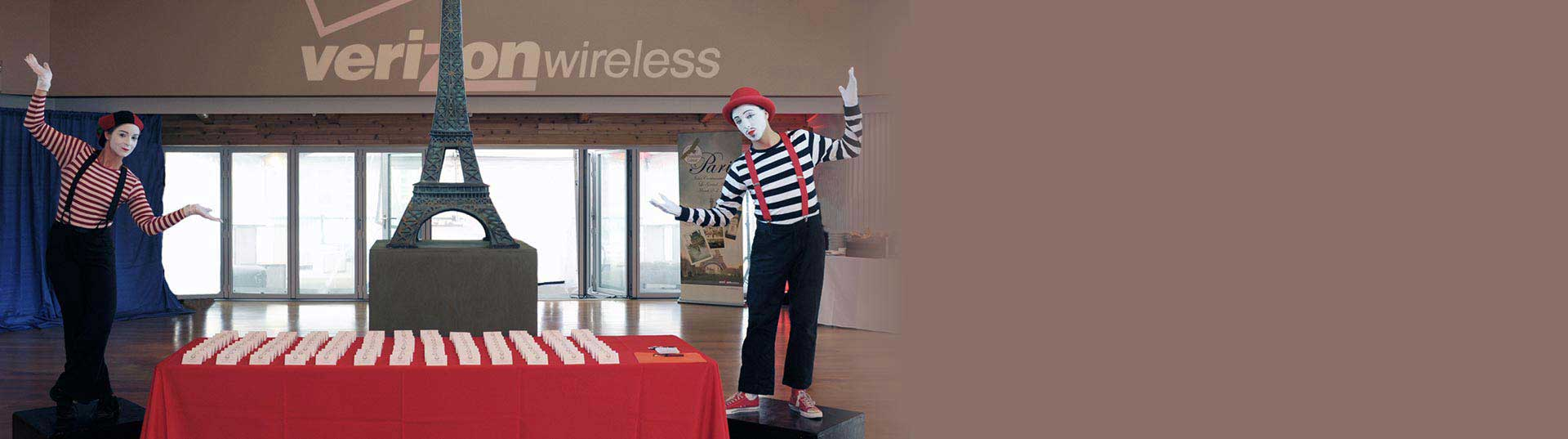 French Mime performers at Corporate Verizon event